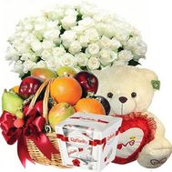 Bouquet, teddy bear, fruit, Raffaello - flowers and bouquets on roza.od.ua
