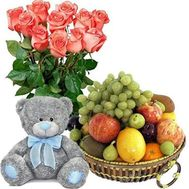 Bouquet of roses, teddy bear, fruit - flowers and bouquets on roza.od.ua
