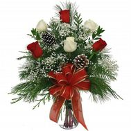 Bouquet of roses and spruce - flowers and bouquets on roza.od.ua