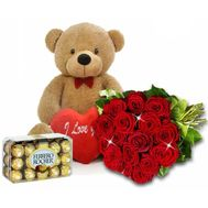 A bouquet of roses with a teddy bear and sweets - flowers and bouquets on roza.od.ua