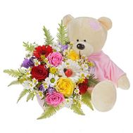 Bouquet with a bear - flowers and bouquets on roza.od.ua
