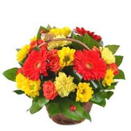 """Basket with gerberas, roses and chrysanthemums"" in the online flower shop roza.od.ua"