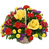 Basket with roses, carnations, chrysanthemums - flowers and bouquets on roza.od.ua