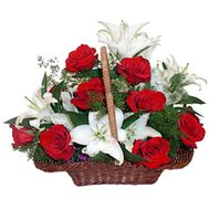 Basket with roses and lilies - flowers and bouquets on roza.od.ua