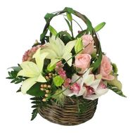 Basket of flowers from orchids and roses - flowers and bouquets on roza.od.ua