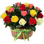 Корзина разноцветных роз - цветы и букеты на roza.od.ua