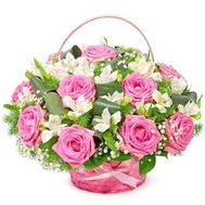 """Basket with roses and alstromeries"" in the online flower shop roza.od.ua"