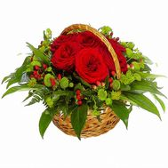 """Basket with roses and chrysanthemums"" in the online flower shop roza.od.ua"