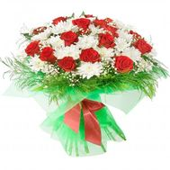Bouquet of red roses and white chrysanthemums - flowers and bouquets on roza.od.ua