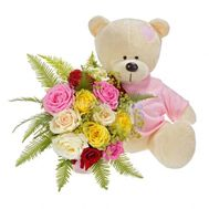 Teddy bear with flowers - flowers and bouquets on roza.od.ua