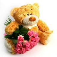 Bear with roses - flowers and bouquets on roza.od.ua