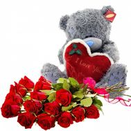 """Soft toy with flowers"" in the online flower shop roza.od.ua"