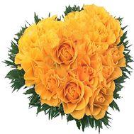 Сердце из 17 желтых роз - цветы и букеты на roza.od.ua