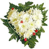 Сердце из хризантем - цветы и букеты на roza.od.ua