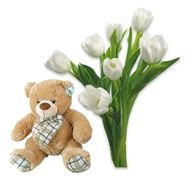 """Tulips with a bear"" in the online flower shop roza.od.ua"