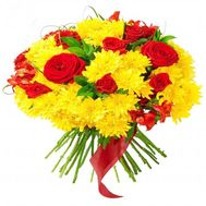 Bright bouquet of chrysanthemums and roses - flowers and bouquets on roza.od.ua