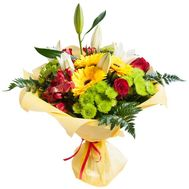Bouquet of lilies, chrysanthemums, alstromeries and roses - flowers and bouquets on roza.od.ua