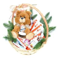 """New Year's basket of sweets and soft toys"" in the online flower shop roza.od.ua"