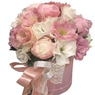 Peonies and eustoma in a box - flowers and bouquets on roza.od.ua