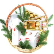 """Ferrero Rocher and Raffaello New Year's gift basket"" in the online flower shop roza.od.ua"