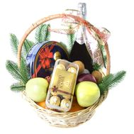 """New Year's Gift Basket Woman with Asti Martini"" in the online flower shop roza.od.ua"