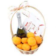 Asti Martini and tangerines in a basket - flowers and bouquets on roza.od.ua