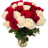 25 red and white roses - flowers and bouquets on roza.od.ua