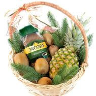 """Christmas basket with coffee and fruits"" in the online flower shop roza.od.ua"