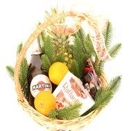 Різдвяний кошик з шампанським - цветы и букеты на roza.od.ua