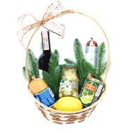 Різдвяний продуктовий кошик з вином - цветы и букеты на roza.od.ua