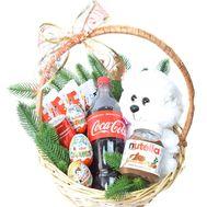 Сладкая рождественская корзинка с игрушкой - цветы и букеты на roza.od.ua