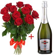 """11 Roses and Martini Asti"" in the online flower shop roza.od.ua"