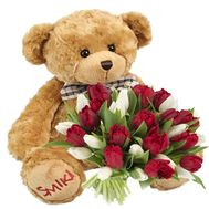 """25 tulips and a bear"" in the online flower shop roza.od.ua"