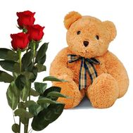 3 red roses and a bear - flowers and bouquets on roza.od.ua