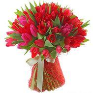 51 красный тюльпан - цветы и букеты на roza.od.ua