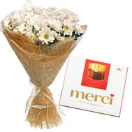 9 chrysanthemum + Merci - flowers and bouquets on roza.od.ua