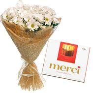 9 хризантем + Merci - цветы и букеты на roza.od.ua