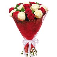 Bouquet of 17 red and white roses - flowers and bouquets on roza.od.ua