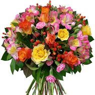Bouquet of mixed colored alstroemerias and roses - flowers and bouquets on roza.od.ua