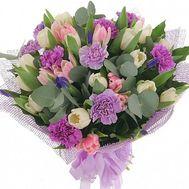 Букет из гвоздик и тюльпанов - цветы и букеты на roza.od.ua