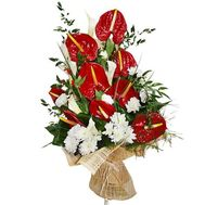 Bouquet of chrysanthemums and anthuriums - flowers and bouquets on roza.od.ua