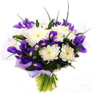 Bouquet of chrysanthemums and irises - flowers and bouquets on roza.od.ua