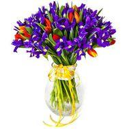 Букет из ирисов и тюльпанов - цветы и букеты на roza.od.ua