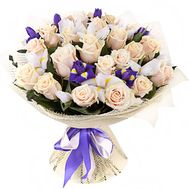 Bouquet of roses and irises - flowers and bouquets on roza.od.ua