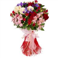 Bouquet of roses, irises and alstroemerias - flowers and bouquets on roza.od.ua