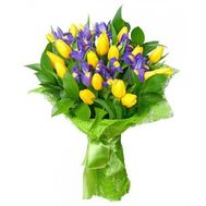 Bouquet of tulips and irises - flowers and bouquets on roza.od.ua