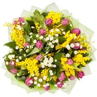 """Bouquet with mimosa and tulips"" in the online flower shop roza.od.ua"