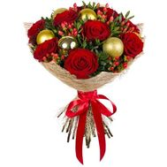Букет с новогодними игрушками - цветы и букеты на roza.od.ua