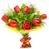 """Bouquet of tulips and mimosa"" in the online flower shop roza.od.ua"