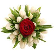 Букет тюльпанов с розой - цветы и букеты на roza.od.ua